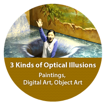 3 Kinds of Optical Illusions, Paintings, Digital Art, Object Art